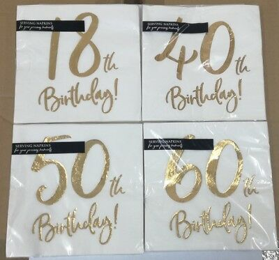 Servietten zum Geburtstag 18 - 30 - 40 - 50 - 60 - 70 -  weiss / gold