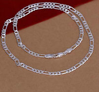 "CHAINE FIGARO: 925 Sterling Silver 7mm Figaro 43.2g - (20"")"