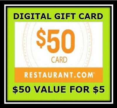$50 Digital Gift Certificate Codes For Restaurant.com - No (Digital Gift Certificates)