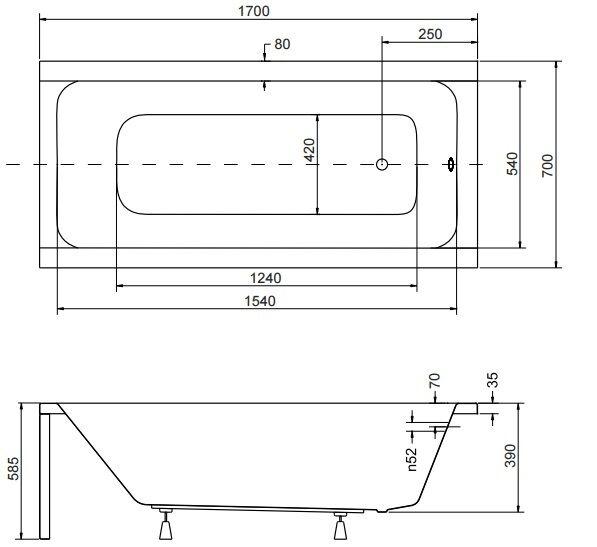 Badewanne Rechteck Acryl 120,130,140,150,160,170x70 Ablauf VIEGA Füße MODERN F 170x70