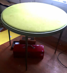 Vintage Folding Card Table Set With Four Matching Chairs
