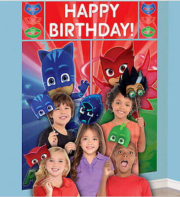 PJ MASKS birthday party Scene Setter & photo booth kit Catboy Owlette Gekko - Photo Booth Kit