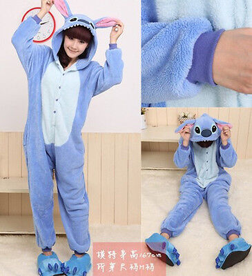 Hot Unisex Adult Kigurumi Pajama Anime Costume Dress Blue Stitch Sleepwear Robe  - Hot Adult