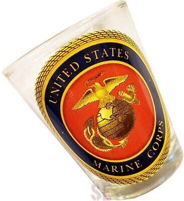 USMC Marine Corps Shot Glass UNITED STATES MARINE CORPS Official Crest Seal EGA Marine Corps Glass