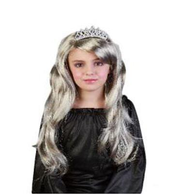 Girls Princess Wig Long Silver-Blonde Fairy-tale Fancy Dress Wig with Tiara