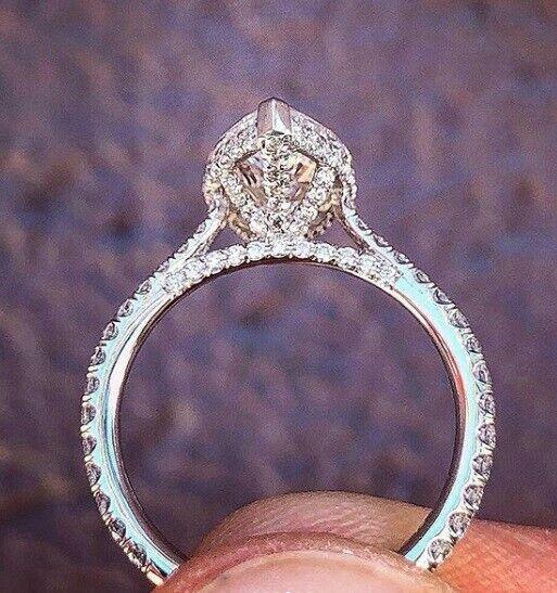 1.60 Ct Pear Brilliant Cut Diamond Hidden Halo Engagement Ring I,VS1 GIA 14K WG  5