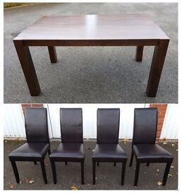 Solid Dark Wood Dining Table 150cm & 4 Leather Chairs FREE DELIVERY (03422)