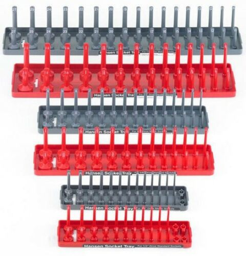 Hansen 6pc 1/4 3/8 1/2 SAE Metric Sockets Trays Holders Set USA Tool Organizer