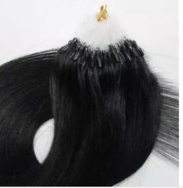 Human hair nano ring extensions self black