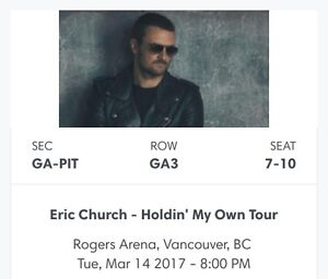 Eric Church 4 Pit Tickets -Vancouver