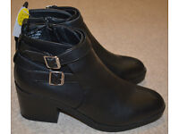 Atmosphere Primark Heeled Black Leather Ankle Boots Size 8 / 42