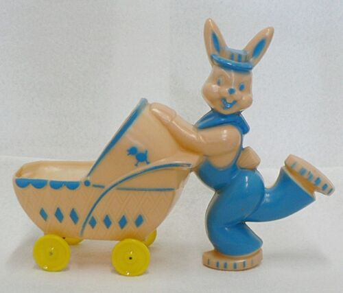 VINTAGE PLASTIC BUNNY RABBIT WITH BABY BUGGY