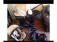 Full travel system pram in cream and black everything included