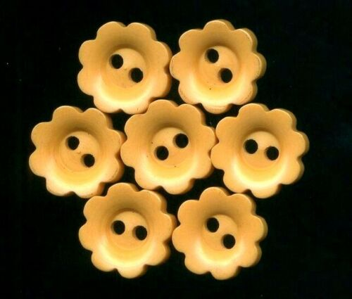 Set of 8 Little Bakelite Flower Head Buttons…Cream Corn Yellow…More Available