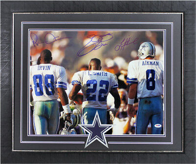 fdb24de4f Cowboys Triplets Smith, Aikman & Irvin Signed & Framed 16X20 Photo PSA/DNA  ITP