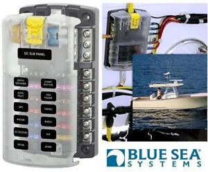 NEW BLUE SEA BOAT FUSE BLOCK 5025 191970281 Blade Fuse Block - 6 Circuits with Negative Bus and Cover