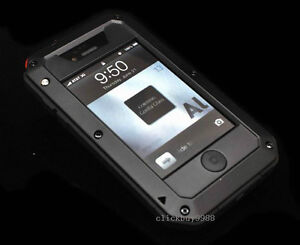 New Military Heavy Duty Black Cover Case With Gorilla Glass for iPhone 4/4S