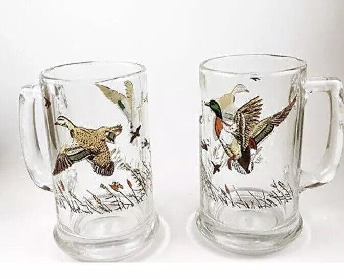 Two Vintage Flying Geese Duck Print Glass Beer Stein Glasses mugs
