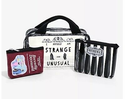Beetlejuice Cosmetic Make-Up Tote Bag 3 Set Recently Deceased EXCLUSIVE NEW