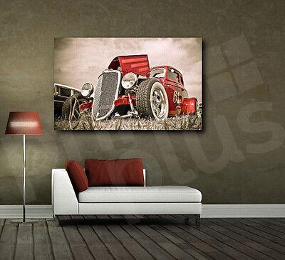 Red Retro Classic Automobile Car Canvas Fine Art Poster Print Home Wall Decor Car Wall Decor