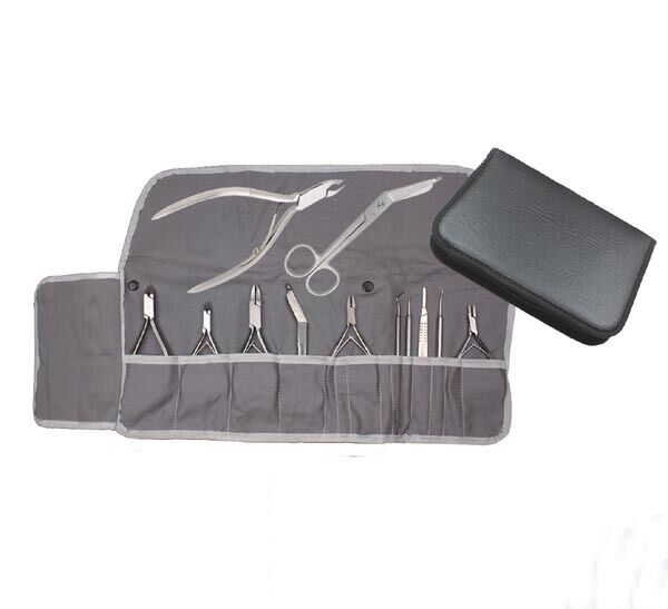 Baumwolleinlage für Instrumenten Etui grau Fußpflege Nageldesign mobil cotton