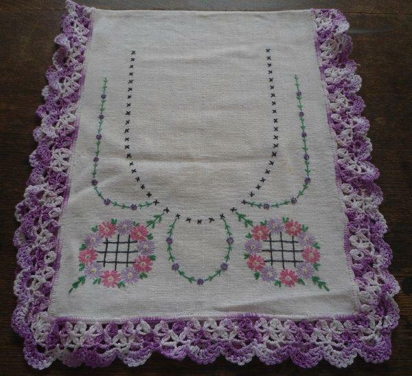 Vintage Lot 5 Dresser Scarves Table Runners Pink Purple Hand Embroidery Lace