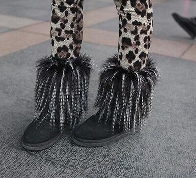 White Fur Leg Warmers (new Boot Cuff Fluffy Soft Furry Faux Fur Leg Warmers black&white)