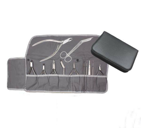 Instrumentenetui Kunstleder Baumwolleinlage grau mobile Fußpflege Kosmetik Etui
