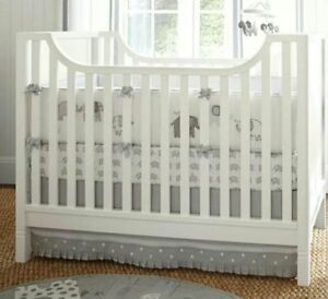 White Pottery Barn Crib with Genevieve Bedding set