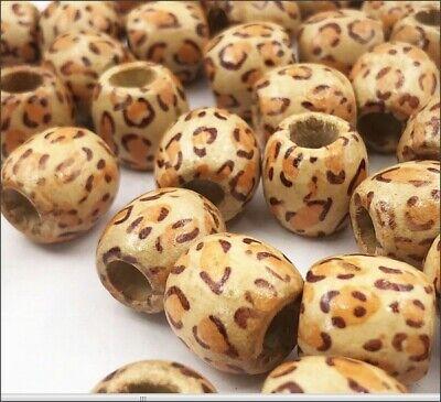 Wood Barrel Leopard Pattern Large Hole Beads - Large Wood Beads