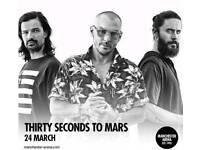 Two tickets to see 30 Seconds to mars at Manchester Arena on Saturday the 24th of March 2018,