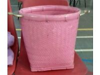 Large Pink Basket with Two Brass Handles