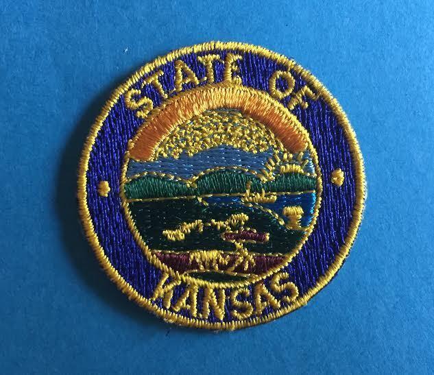 Vintage Seal Of The State Of Kansas Souvenir Biker Vest Hat Travel Patch Crest