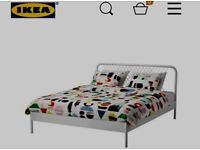 IKEA King Size Bed NESTTUN frame + HYLLESTAD mattress + LÖNSET Slatted bed base