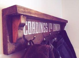 Vintage upcycled coat rack shelf
