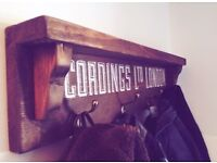 Vintage upcycled coat rack shelf