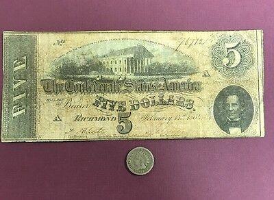 1864 $5 Confederate States Of America & A Civil War Dated Coin