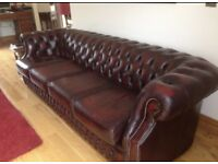 vintage large red leather chesterfield sofa settee