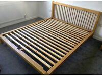 Solid oak Habitat Seville EU king size bed frame great condition, can deliver