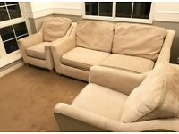 NEED GONE BY SUNDAY. Sofa bed and two armchairs.