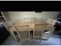 Oak extendable table with 6 chairs