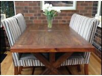 Dining table with six upholstered chairs