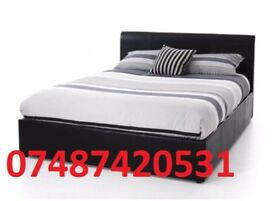 DOUBLE LEATHER BED FRAME + FREE 9 INCH MATTRESS £99 -SALE