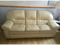 3 seater cream leather sofa 2 chairs