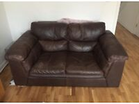 Incredibly comfortable brown leather 2 seater sofa
