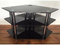 Black Glass Corner TV Stand - Immaculate