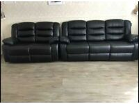 FAST DELIVERY 😎BRAND NEW BONDED LEATHER 3+2 SEATER RECLINER SOFA SET IN BLACK AND GREY COLOURS