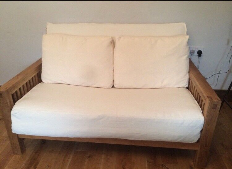 2 Seat Solid Oak Frame Futon By Company Oke Range With Mattress And Cover Great Condition