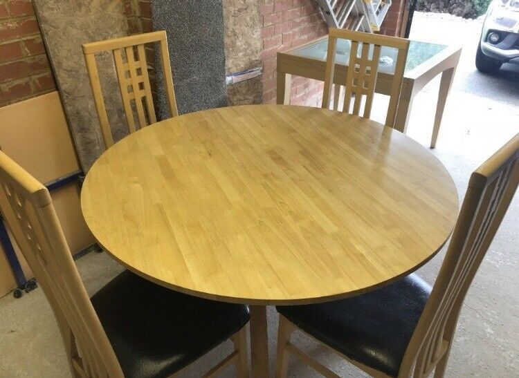 Round Wooden Dining Table Chairs In East Ardsley West - Round wooden table with 4 chairs