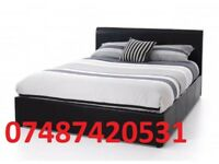 DOUBLE LEATHER BED + FREE 9 INCH MATTRESS NOW ONLY £99